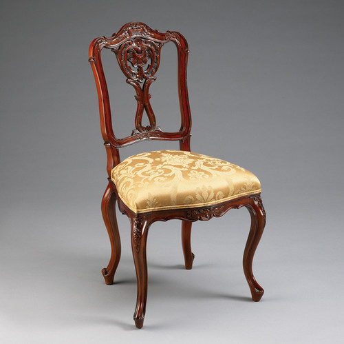 Louis Quinze French Rococo Period Louis XV - 35.5 Inch Handcrafted Reproduction Versailles Dining Side | Accent | Desk Chair - Gold Damask Upholstery 010A - Mahogany Luxurie Furniture Finish M
