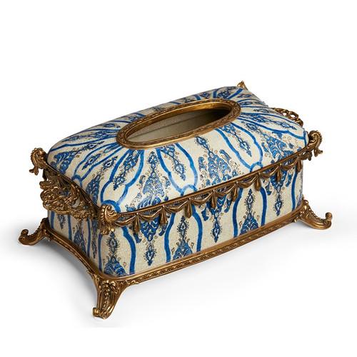 "***Lyvrich Objet d'Art   Handmade Tissuebox, Decorative Centerpiece   Blue and White Brocade,   Porcelain with Gilded Dior Ormolu Trim,   5.11""t X 10.82""L X 6.75""d   6514"