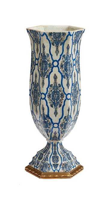 """***Lyvrich Objet d'Art   Handmade Vase,   Blue and White Brocade,   Porcelain with Gilded Dior Ormolu Trim,   Hexagon 19.25""""t X 8.25""""w X 7.08""""d   6516"""