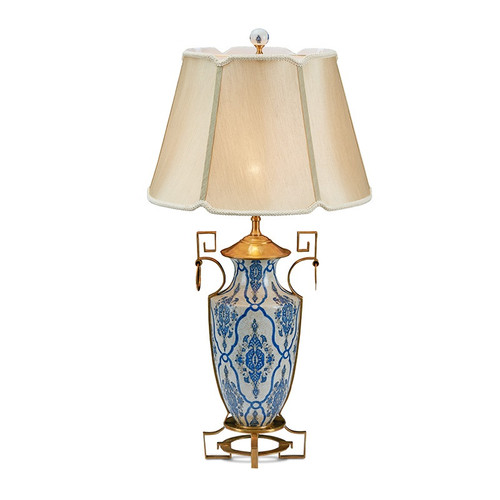 """***Lyvrich Objet d'Art   Handmade Tabletop Lamp,   Blue and White Brocade,   Porcelain with Gilded Dior Ormolu Trim,   35.50""""t X 18""""w X 18""""d   6517"""