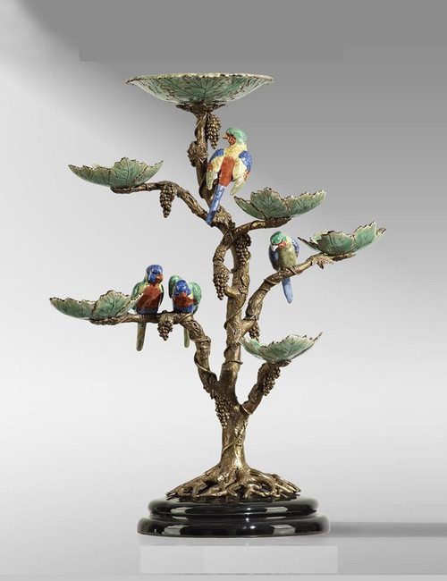 "***Lyvrich Objet d'Art | Handmade Tiered Compote, Fruit Bowl, Epergne | Grape Leaves, Clusters, Parrots, | Porcelain with Gilded Dior Ormolu Trim, | 23.81""t X 20.07""w X 12.59""d 