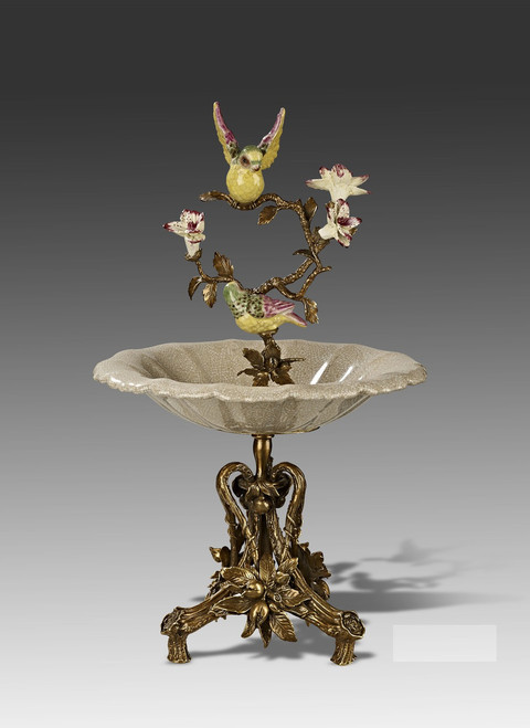 "***Lyvrich Objet d'Art | Handmade Compote, Fruit Bowl, Epergne | Birds, Branches, Flowers, | Porcelain with Gilded Dior Ormolu Trim, | 19.50""t X 12""w X 12""d 