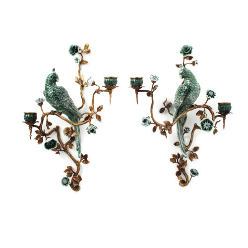"""***Lyvrich Objet d'Art   Handmade Candle Holder Set, Wall Bracket Sconce Pair   Parrots, Branches, Flowers,   Porcelain with Gilded Dior Ormolu Trim,   18.50""""t X 13.25""""w X 7.08""""d and 17.32""""t X 14.50""""w X 5.50""""d   6521"""