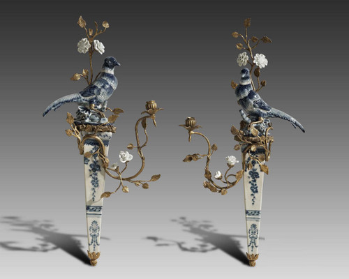 "***Lyvrich Objet d'Art | Handmade Candle Holder Set, Blue and White Bird, Wall Bracket Sconce Pair | Lazuli Bunting, Branches, Flowers, | Porcelain with Gilded Dior Ormolu Trim, | 28.75""t X 13.75""w X 5.51""d and 29.52""t X 13.75""w X 5.10""d 