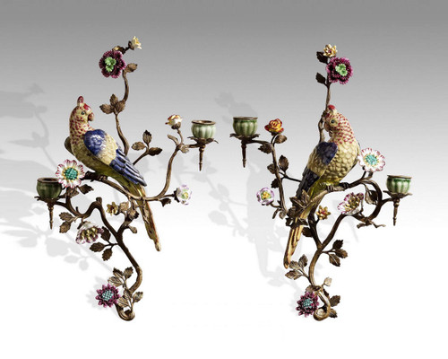 "***Lyvrich Objet d'Art | Handmade Candle Holder Set, Wall Bracket Sconce Pair | Parrot, Branch, Polychrome Flower, | Porcelain with Gilded Dior Ormolu Trim, | 17.25""t X 13""w X 5.51""d and 18.5""t X 12.25""w X 7""d 
