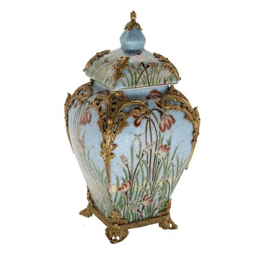 "***Lyvrich Objet d'Art | Handmade Covered Jar, Centerpiece Urn | Unspecified Pattern, | Porcelain with Gilded Dior Ormolu Trim, | 13.99""t X 8.67""w X 8.67""d | 6526"