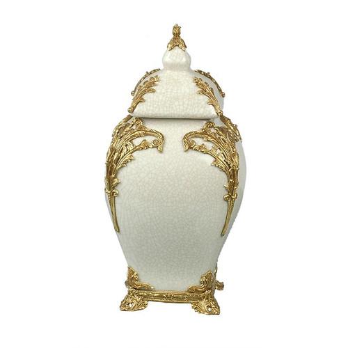 "***Lyvrich Objet d'Art | Handmade Covered Jar, Centerpiece Urn | Unspecified Pattern, | Porcelain with Gilded Dior Ormolu Trim, | 13.99""t X 8.67""w X 8.67""d | 6528"