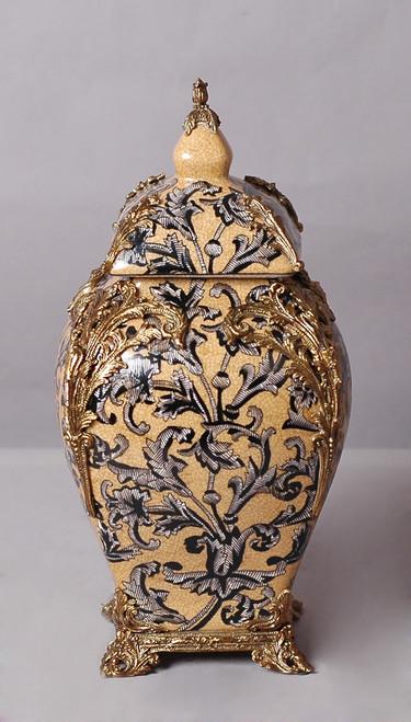 "***Lyvrich Objet d'Art | Handmade Covered Jar, Centerpiece Urn | Unspecified Pattern, | Porcelain with Gilded Dior Ormolu Trim, | 13.99""t X 8.67""w X 8.67""d | 6529"