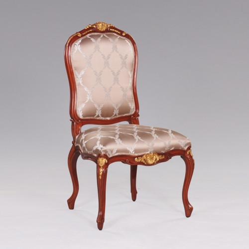 de Pompadour French Rococo Period Louis XV - 44.5 Inch Handcrafted Reproduction Versailles Dining Side | Accent | Desk Chair - Upholstery 070 - Mahogany Luxurie Furniture Finish M with NF11 Gilt Accents