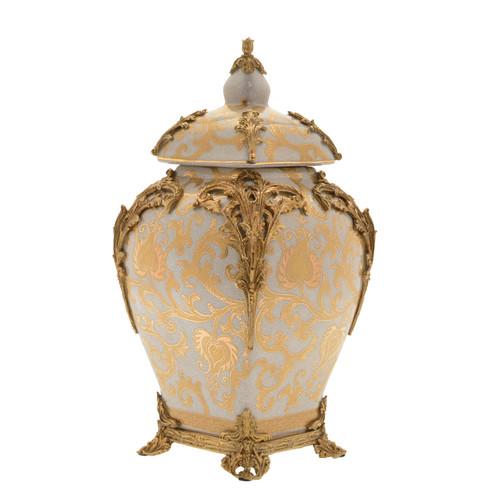 "***Lyvrich Objet d'Art | Handmade Covered Jar, Centerpiece Urn | Crackle Lotus Scroll Arabesque, | Porcelain with Gilded Dior Ormolu Trim, | 13.99""t X 8.67""w X 8.67""d | 6530"