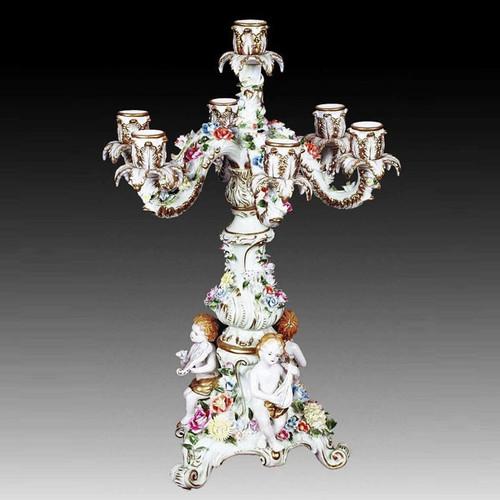 "***Lyvrich Objet d'Art | Handmade Candelabrum | Hand Painted Raised Porcelain Flowers, | Porcelain with Gilded Dior Trim, | 22.75""t X 17.70""w X 17.70""d | 6538"
