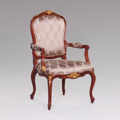 de Pompadour French Rococo Period Louis XV - 44.5 Inch Handcrafted Reproduction Versailles Dining | Accent | Armchair Fauteuil - Upholstery 070 - Mahogany Luxurie Furniture Finish M with NF11 Gilt Accents
