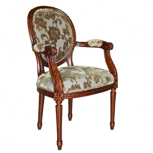 Louis Seize French Neo Classical Period Louis XVI - 40 Inch Handcrafted Reproduction Versailles Dining | Accent | Armchair Fauteuil - Upholstery 078 - Distressed Walnut Luxurie Furniture Finish NWND