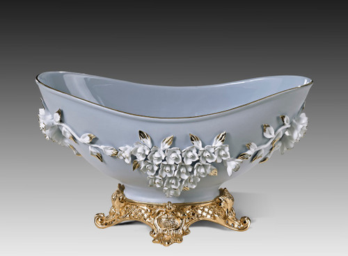 "***Lyvrich | Handmade Fine Porcelain Flowers, Basin, Centerpiece Bowl, | Porcelain with Gilded Dior Ormolu Trim, | 8""t X 13.25""L X 7.25""d 