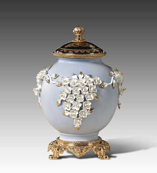 "***Lyvrich | Handmade Fine Porcelain Flowers, Ginger Jar, Centerpiece, | Porcelain with Gilded Dior Ormolu Trim, | 11.25""t X 7.75""w X 7.25""d 