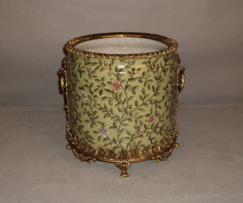 "***Lyvrich Objet d'Art | Handmade Trash Can, Statement Wastebasket | Pink Flower Climbing Vine, | Porcelain with Gilded Dior Ormolu Trim, | 10""t X 11""w X 11""d 