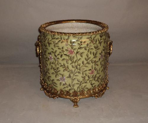 "***Lyvrich Objet d'Art | Handmade Trash Can, Statement Wastebasket | Pink Flower Climbing Vine, | Porcelain with Gilded Dior Ormolu Trim, | 10""t X 11""w X 11""d | 6584"
