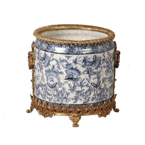 "***Lyvrich Objet d'Art | Handmade Trash Can, Statement Wastebasket | Blue and White Butterfly Pattern, | Porcelain with Gilded Dior Ormolu Trim, | 10""t X 11""w X 11""d 