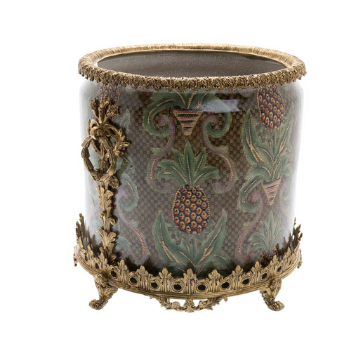 "***Lyvrich Objet d'Art | Handmade Trash Can, Statement Wastebasket | Undulated Pineapple Theme Pattern, | Porcelain with Gilded Dior Ormolu Trim, | 10""t X 11""w X 11""d 