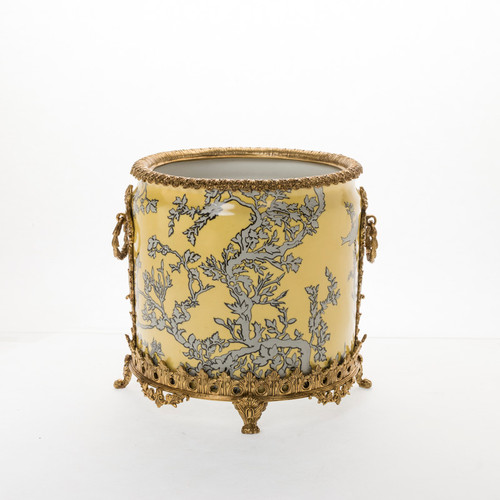 "***Lyvrich Objet d'Art | Handmade Trash Can, Statement Wastebasket | Abstract Chinoiserie, Gold & Silver, Pattern, | Porcelain with Gilded Dior Ormolu Trim, | 10""t X 11""w X 11""d 