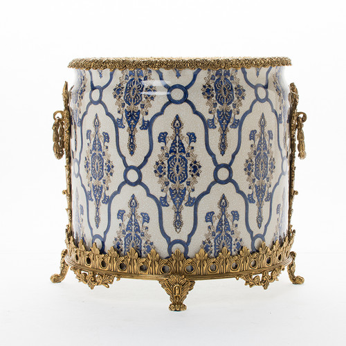 "***Lyvrich Objet d'Art | Handmade Trash Can, Statement Wastebasket | Blue and White Brocade, Pattern, | Porcelain with Gilded Dior Ormolu Trim, | 10""t X 11""w X 11""d | 6590"