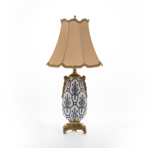 """***Lyvrich Objet d'Art   Handmade Tabletop Lamp,   Blue and White Brocade,   Heirloom Quality Porcelain with Gilded Dior Ormolu Trim,   29.25""""t X 14.75""""w X 14.75""""d   6593"""