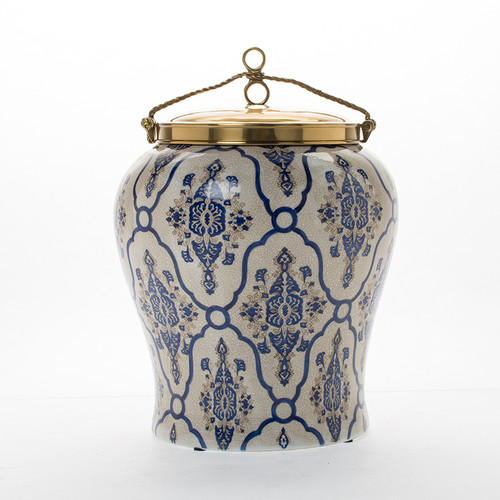"***Lyvrich | Handmade Ginger Jar, Centerpiece, | Blue and White Brocade, | Ginger Jar, Centerpiece, | Heirloom Quality Porcelain with Gilded Dior Ormolu Trim, | 13.00""t X 9.50""w X 9.50""d | 6596"