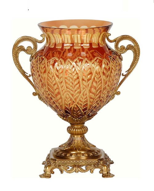 Luxe Life Finely Finished Cut Crystal Glass and Gilt Bronze Ormolu, 14 Inch Tabletop Vase