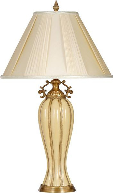 Porcelain Lamp with Shantung Silk Shade Lamp - Ivory and Gold - 30t