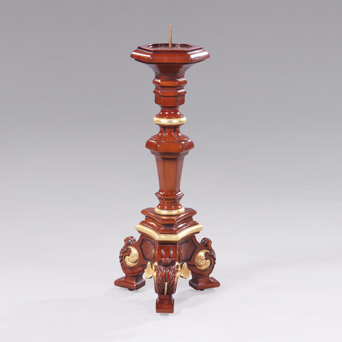 Acanthus Carved Mahogany Wood Candlestick Pair - 18 Inch Handcrafted Reproduction Pillar Candle Holder Set - Wood Tone Luxurie Furniture Finish MLSC GG with Gold Accents