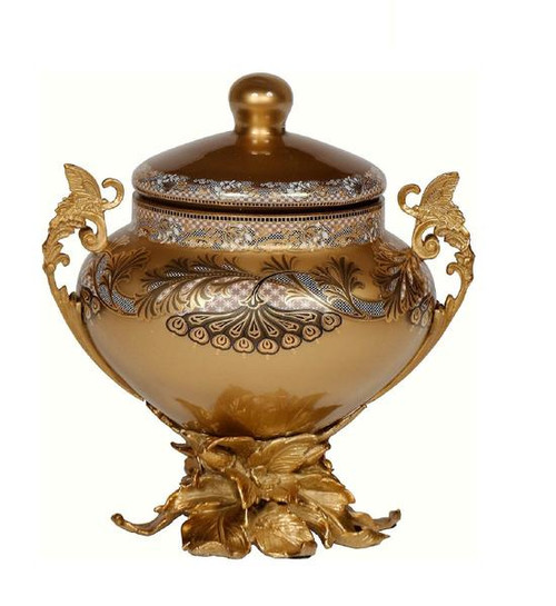 Luxe Life Finely Finished Hand Painted Glass and Gilt Bronze Ormolu, 10 Inch Round Decorative Box