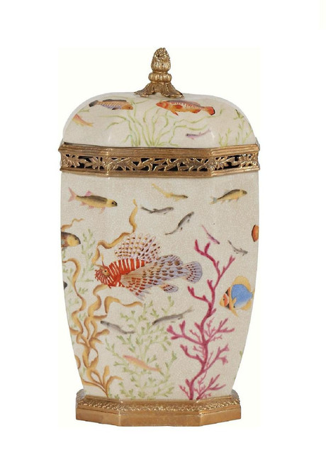 Luxe Life Under the Sea Pattern, Finely Finished Porcelain and Gilt Bronze Ormolu, 14 Inch Tall Decorative Container