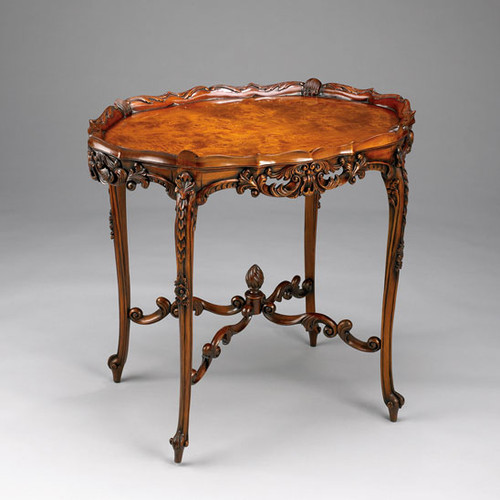 Louis Quinze French Rococo Period Louis XV - 32 Inch Handcrafted Reproduction Versailles Entry | Oval Raised Gallery Center Table - Luxurie Furniture Wood Tone Finish BSC