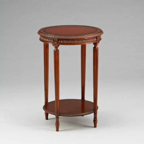 Marie Therese Charlotte French Neo Classical Period Louis XVI - 28 Inch Handcrafted Reproduction Versailles End | Side | Round Leather Inlay Lamp Table - Wood Walnut Luxurie Furniture Finish NWN