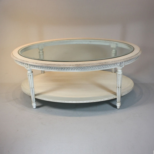 Marie Therese Charlotte French Neo Classical Period Louis XVI - 47 Inch Handcrafted Reproduction Versailles Cocktail   Oval Bevel Glass Coffee Table - White Painted Luxurie Furniture Finish JWI