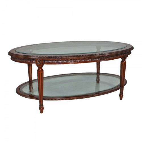 Marie Therese Charlotte French Neo Classical Period Louis XVI - 47 Inch Handcrafted Reproduction Versailles Cocktail   Oval Bevel Glass Coffee Table - Luxurie Furniture Wood Tone Finish MLSC