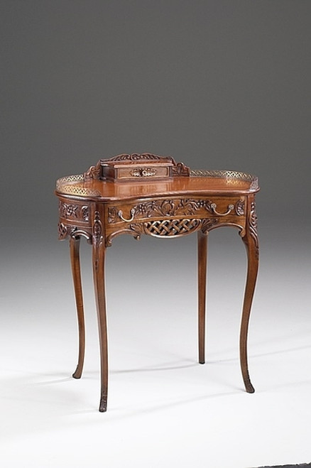 Princess Henriette Anne French Rococo Period Louis XV - 33.5 Inch Handcrafted Reproduction Versailles Bonheur-de-Jour Kidney Shaped Writing Table | Small Desk - Distressed Walnut Luxurie Furniture Finish NWND