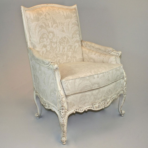 Louis Ferdinand French Rococo Period Louis XV - 41 Inch Handcrafted Reproduction Versailles Bergere Arm Chair - Oriental Pattern Upholstery 061 - Painted Antique White Luxurie Furniture Finish JWI