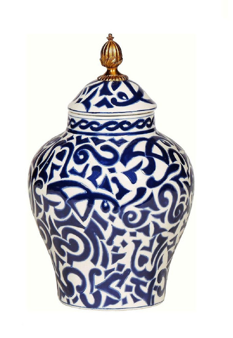 Luxe Life Classic Blue and White Pattern, Finely Finished Porcelain and Gilt Bronze Ormolu, 11 Inch Temple Jar