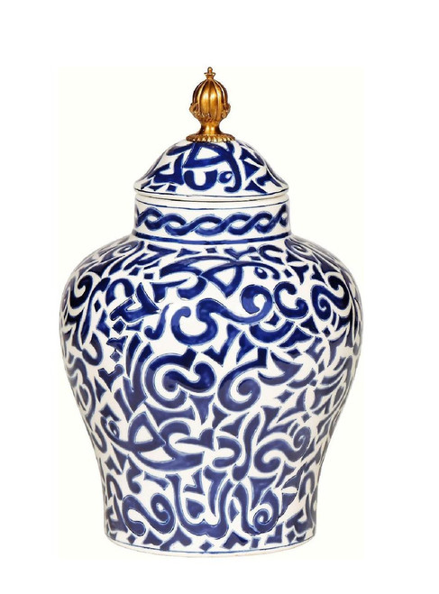 Luxe Life Classic Blue and White Pattern, Finely Finished Porcelain and Gilt Bronze Ormolu, 14 Inch Temple Jar