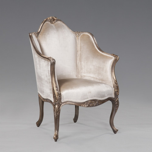 Princess Therese Felicite French Rococo Period Louis XV - 35 Inch Handcrafted Reproduction Versailles Bergere Arm Chair - Off White Velvet Upholstery 053 - Metallic Luxurie Furniture Finish NF15