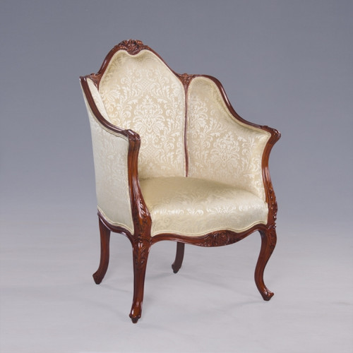Princess Therese Felicite French Rococo Period Louis XV - 35 Inch Handcrafted Reproduction Versailles Bergere Arm Chair - Damask Upholstery 040 - Wood Stain Luxurie Furniture Finish MLSC