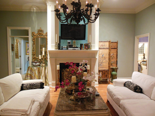 Wrought Iron and Mesh, Classic Baroque Scroll Arabesque - Antique Gold Fireplace Screen - 1869