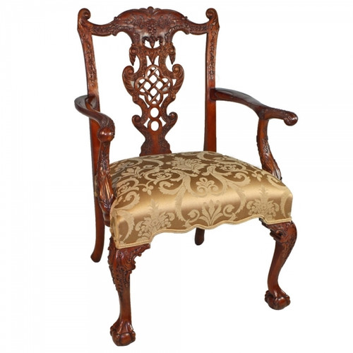 Chinese Chippendale - 38 Inch Handcrafted Reproduction Fretback Dining | Accent Armchair - Upholstery 010a - Mahogany Luxurie Furniture Finish M