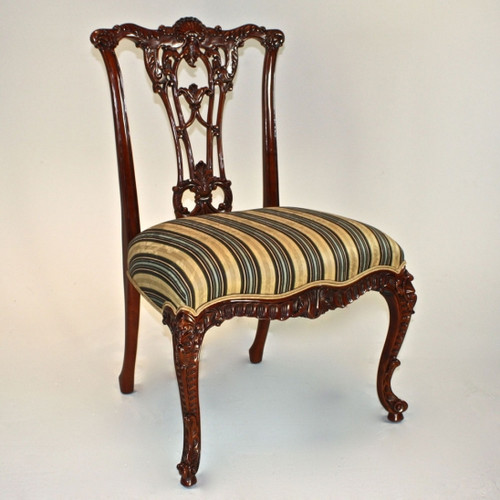 A Carved Rococo English Chippendale - 39 Inch Handcrafted Reproduction Open Back Dining Side | Accent Chair - Upholstery 045 - Mahogany Luxurie Furniture Finish M