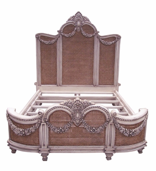 Custom Decorator - Hardwood Hand Carved and Cane Guirlande de Butin - Neo Classical 77 Inch Full Size Bed - Painted or Wood Stain Finish