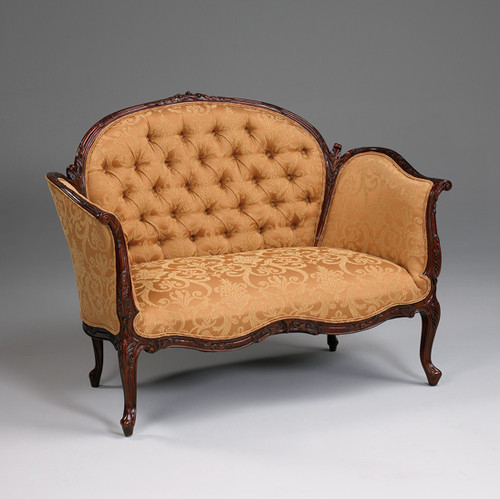 A Transitional French - Sophie 50 Inch Handcrafted Reproduction Small Versailles Canape | Two Seater Sofa - Tufted Upholstery 010A - Mahogany Luxurie Furniture Finish M