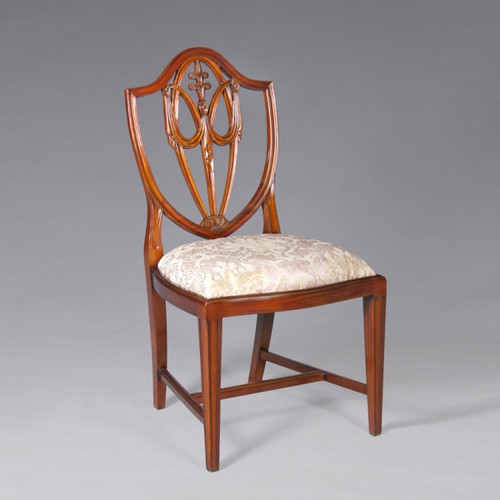 A Georgian English Hepplewhite Festoons of Wheat Ears - 39 Inch Handcrafted Reproduction Shield Back Dining | Accent Side Chair - Damask Upholstery 055 - Wood Luxurie Furniture Finish MLSC