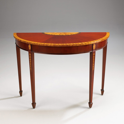 A Georgian English Hepplewhite Period - 45 Inch Handcrafted Reproduction Mahogany and Satinwood Demilune Entry Table Console - Mahogany Luxurie Furniture Finish M