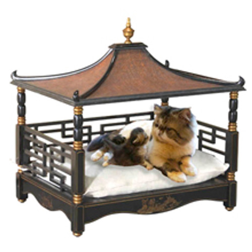 A Fine Pagoda Pet Bed, Hardwood and Rattan | Painted Black Gold Accents, GEBN, 27L x 21d x 26t